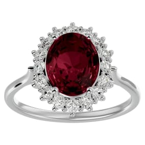 3.60 Carat Oval Shape Garnet and Halo Diamond Ring In 14 Karat White Gold