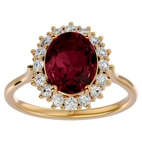 3.60 Carat Oval Shape Garnet and Halo Diamond Ring In 14 Karat Yellow Gold