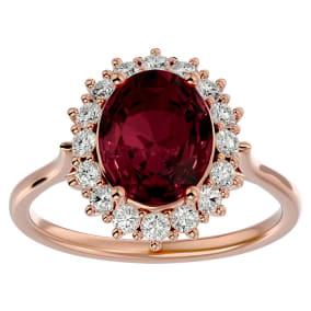 3.60 Carat Oval Shape Garnet and Halo Diamond Ring In 14 Karat Rose Gold