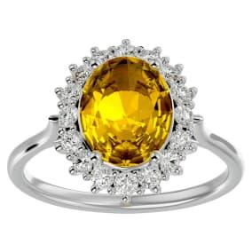2 3/4 Carat Oval Shape Citrine and Halo Diamond Ring In 14 Karat White Gold