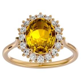 2 3/4 Carat Oval Shape Citrine and Halo Diamond Ring In 14 Karat Yellow Gold