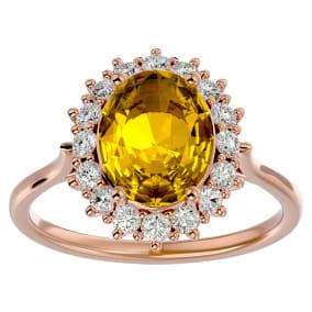 2 3/4 Carat Oval Shape Citrine and Halo Diamond Ring In 14 Karat Rose Gold