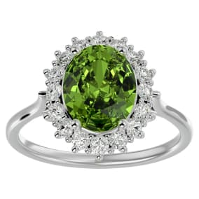 3 Carat Oval Shape Peridot and Halo Diamond Ring In 14 Karat White Gold
