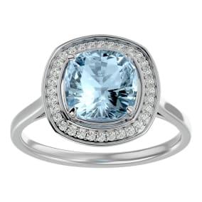 2 1/4 Carat Cushion Cut Aquamarine and Halo Diamond Ring In 14K White Gold