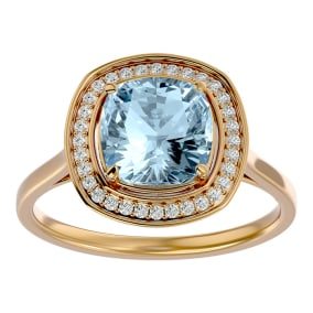 2 1/4 Carat Cushion Cut Aquamarine and Halo Diamond Ring In 14K Yellow Gold