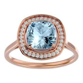 2 1/4 Carat Cushion Cut Aquamarine and Halo Diamond Ring In 14K Rose Gold
