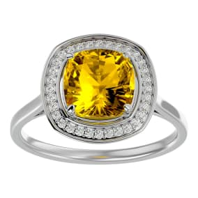 2 1/4 Carat Cushion Cut Citrine and Halo Diamond Ring In 14K White Gold