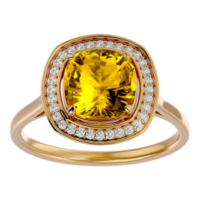2 1/4 Carat Cushion Cut Citrine and Halo Diamond Ring In 14K Yellow Gold