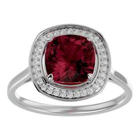 3 1/4 Carat Cushion Cut Garnet and Halo Diamond Ring In 14K White Gold