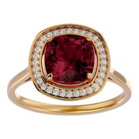 3 1/4 Carat Cushion Cut Garnet and Halo Diamond Ring In 14K Yellow Gold