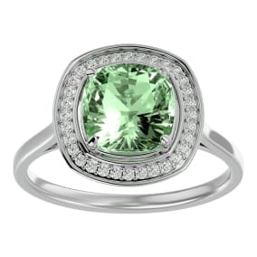 2 1/4 Carat Cushion Cut Green Amethyst and Halo Diamond Ring In 14K White Gold