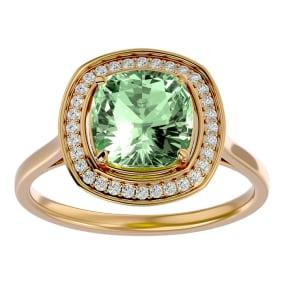 2 1/4 Carat Cushion Cut Green Amethyst and Halo Diamond Ring In 14K Yellow Gold