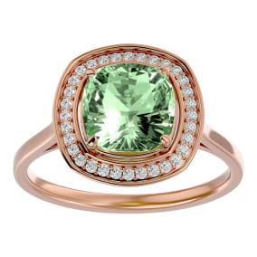 2 1/4 Carat Cushion Cut Green Amethyst and Halo Diamond Ring In 14K Rose Gold