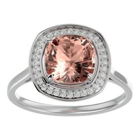 3 1/4 Carat Cushion Cut Morganite and Halo Diamond Ring In 14K White Gold