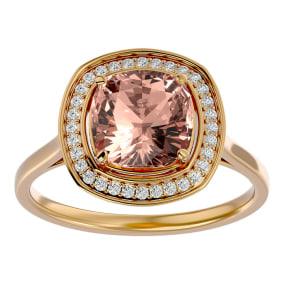 3 1/4 Carat Cushion Cut Morganite and Halo Diamond Ring In 14K Yellow Gold