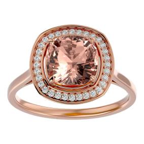 3 1/4 Carat Cushion Cut Morganite and Halo Diamond Ring In 14K Rose Gold