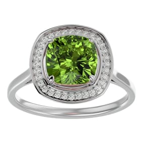 2 3/4 Carat Cushion Cut Peridot and Halo Diamond Ring In 14K White Gold