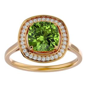 2 3/4 Carat Cushion Cut Peridot and Halo Diamond Ring In 14K Yellow Gold