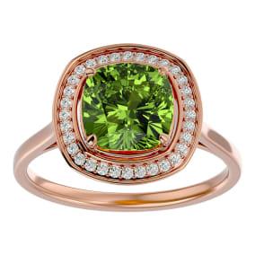 2 3/4 Carat Cushion Cut Peridot and Halo Diamond Ring In 14K Rose Gold