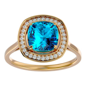 2 3/4 Carat Cushion Cut Blue Topaz and Halo Diamond Ring In 14K Yellow Gold