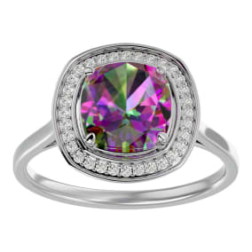 2 1/4 Carat Cushion Cut Mystic Topaz and Halo Diamond Ring In 14K White Gold