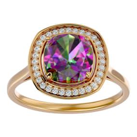 2 1/4 Carat Cushion Cut Mystic Topaz and Halo Diamond Ring In 14K Yellow Gold