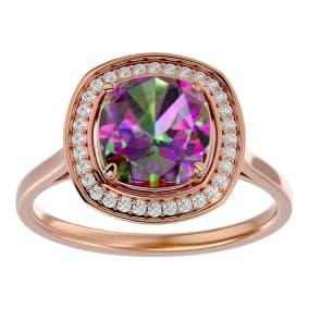 2 1/4 Carat Cushion Cut Mystic Topaz and Halo Diamond Ring In 14K Rose Gold