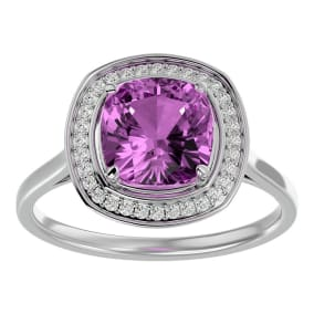 2 3/4 Carat Cushion Cut Pink Topaz and Halo Diamond Ring In 14K White Gold
