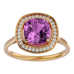 2 3/4 Carat Cushion Cut Pink Topaz and Halo Diamond Ring In 14K Yellow Gold