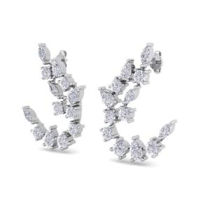 3 Carat Fancy Diamond Drop Earrings In 14 Karat White Gold