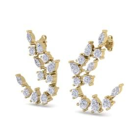 3 Carat Fancy Diamond Drop Earrings In 14 Karat Yellow Gold