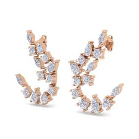3 Carat Fancy Diamond Drop Earrings In 14 Karat Rose Gold