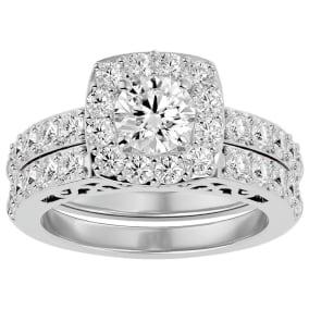 3 Carat Shape Diamond Bridal Set In 14 Karat White Gold
