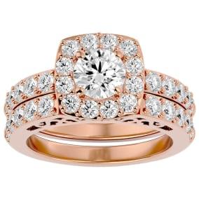 3 Carat Shape Diamond Bridal Set In 14 Karat Rose Gold