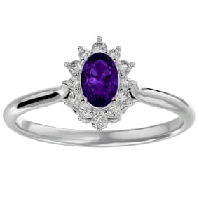 2/3 Carat Oval Shape Amethyst and Halo Diamond Ring In 1.4 Karat White Gold™