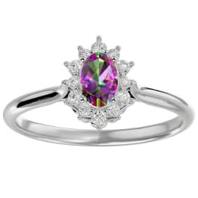 2/3 Carat Oval Shape Mystic Topaz and Halo Diamond Ring In 1.4 Karat White Gold™