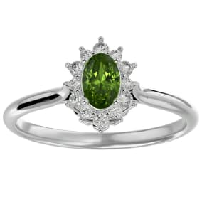 2/3 Carat Oval Shape Peridot and Halo Diamond Ring In 1.4 Karat White Gold™