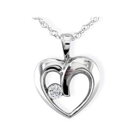 1/10 Carat Diamond Heart Necklace In 1.4 Karat White Gold™