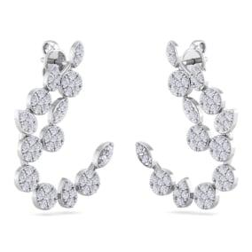 1 1/4 Carat Pave Diamond Fancy Drop Earrings In 14 Karat White Gold