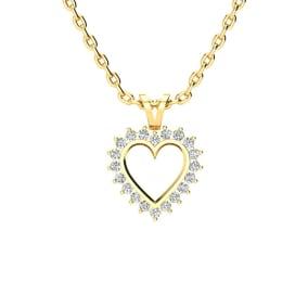 1/4 Carat Classic Diamond Heart Necklace In 1.4 Karat Yellow Gold™