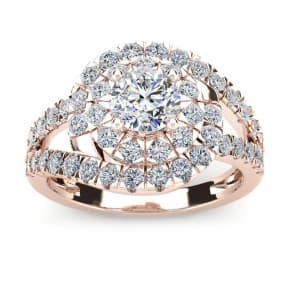 2 1/4 Carat Bypass Round Halo Diamond Engagement Ring in 2.4 Karat Rose Gold™