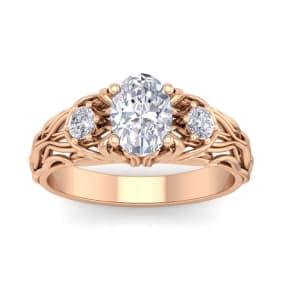1 1/4 Carat Oval Shape Diamond Intricate Vine Engagement Ring In 2.4 Karat Rose Gold™