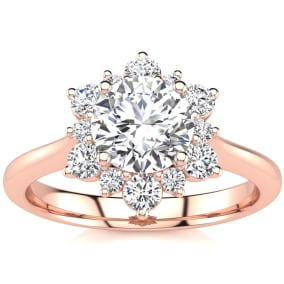 1 Carat Floral Halo Diamond Engagement Ring in 2.4k Rose Gold™.  Fantastic Deal For A Beautiful On-Trend Ring!