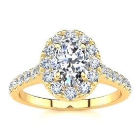 1 Carat Oval Shape Halo Diamond Engagement Ring in 2.4 Karat Yellow Gold™