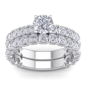 3 1/4 Carat Round Diamond Bridal Set In 2.4 Karat White Gold™.  Comes With Both The Engagement Ring And Wedding Band.  An Amazing Bridal Set!