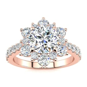 1 Carat Round Shape Halo Diamond Engagement Ring In 2.4K Rose Gold™