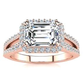 1 1/2 Carat Halo Diamond Engagement Ring in 2.4 Karat Rose Gold™, Split Shank