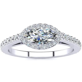 3/4 Carat Marquise Shape Halo Diamond Engagement Ring in 2.4 Karat White Gold™