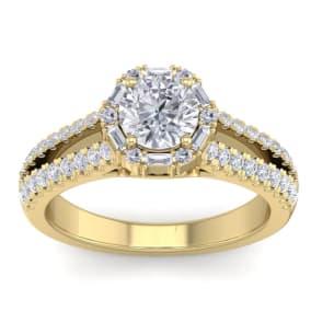 1 1/2 Carat Fancy Halo Diamond Engagement Ring in 2.4 Karat Yellow Gold™