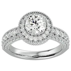 2 1/2 Carat Halo Diamond Engagement Ring In 2.4 Karat White Gold™